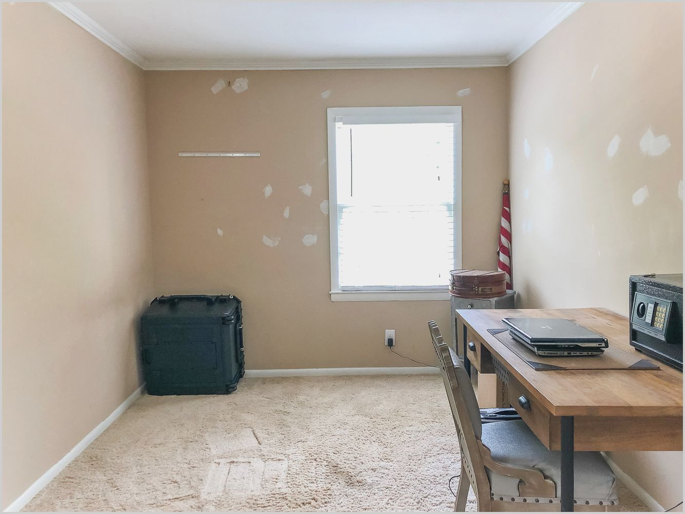 Small Empty Bedroom With One Window In 2020 Guest Bedroom Makeover Small Guest Bedroom Small Bedroom Layout