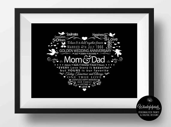 This Is A Digital File I Will Email Artwork Once Complete You Will Be R 50 Wedding Anniversary Gifts 50th Anniversary Gifts 8th Wedding Anniversary Gift