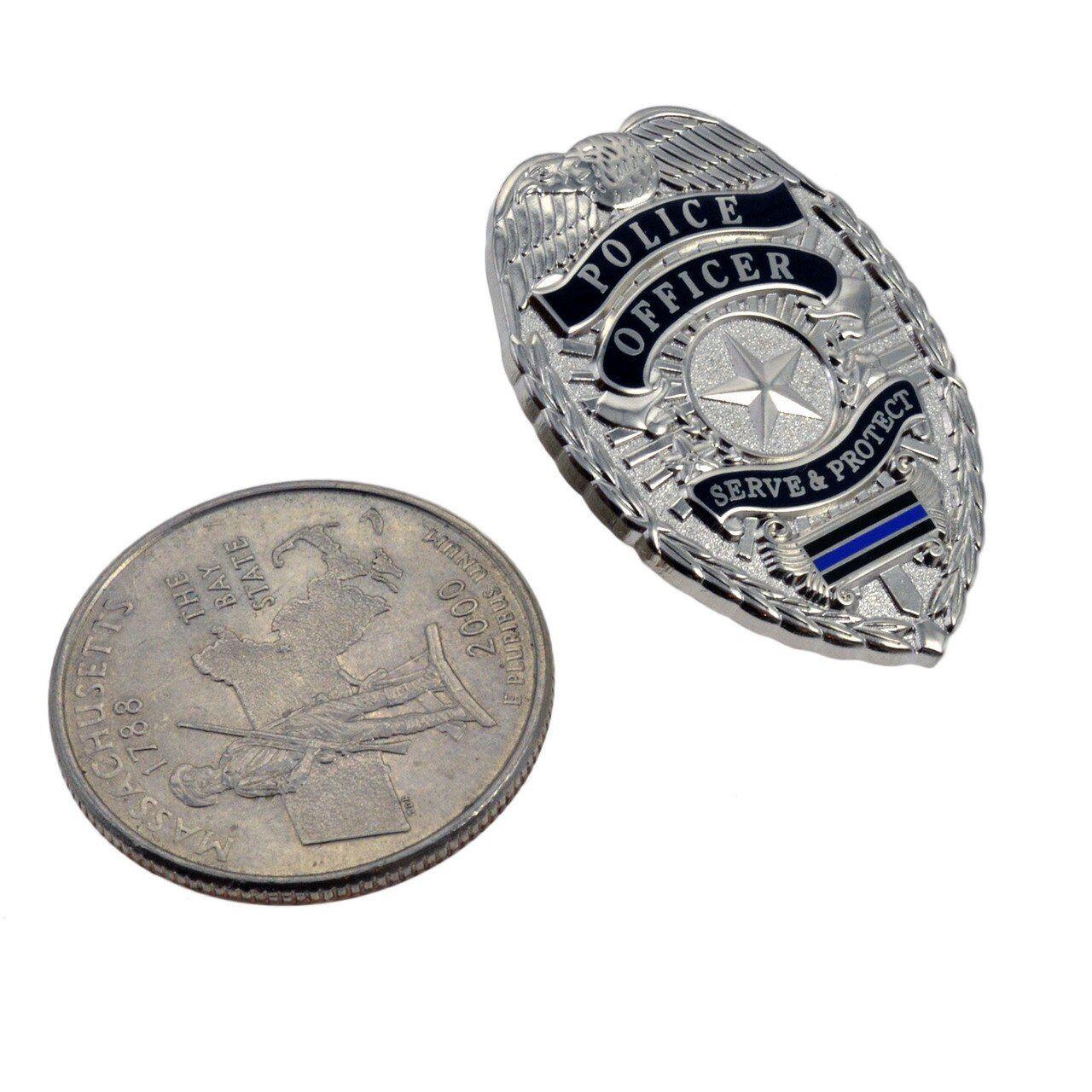 Police Officer Blue Line Mini Badge Lapel Pin Police Badge Wallet Blue Line Police Blue Line
