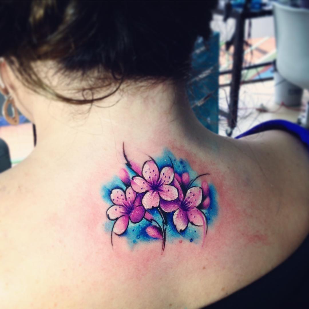 Cerezoab Adrianbascur Tattoo Tatuaje Colors Flor Cerezo