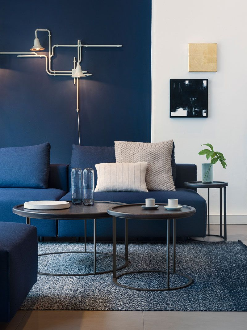 4 ways to use navy home decor to create a modern blue for Navy blue family room