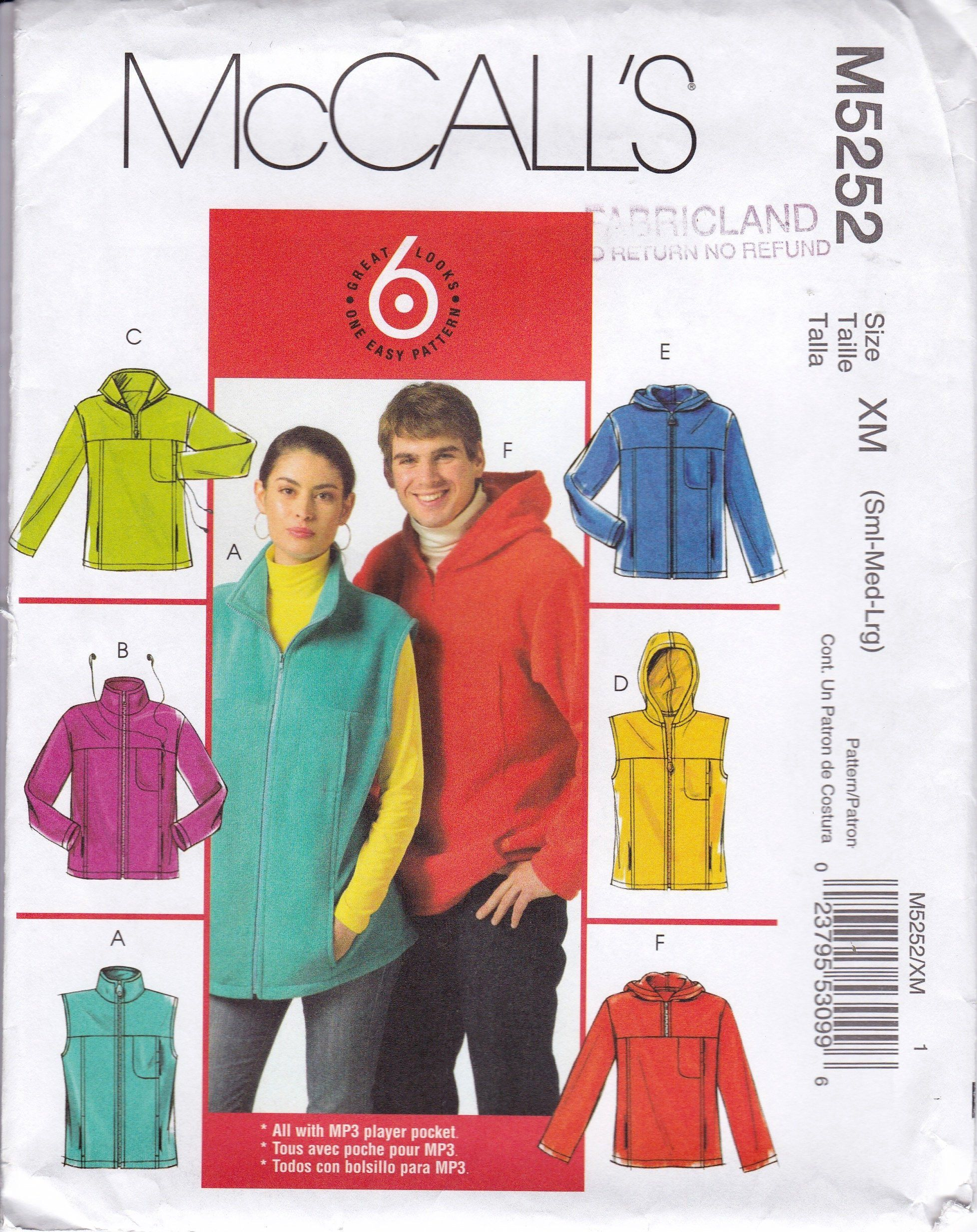 ff766e72c4d8 Misses and Mens Unlined Vests and Jacket Pattern