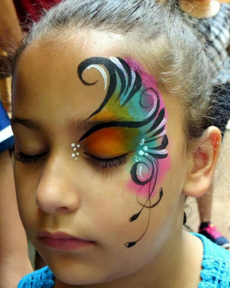 Face paint butterfly fairy wing design facepainting for Fairy painting easy