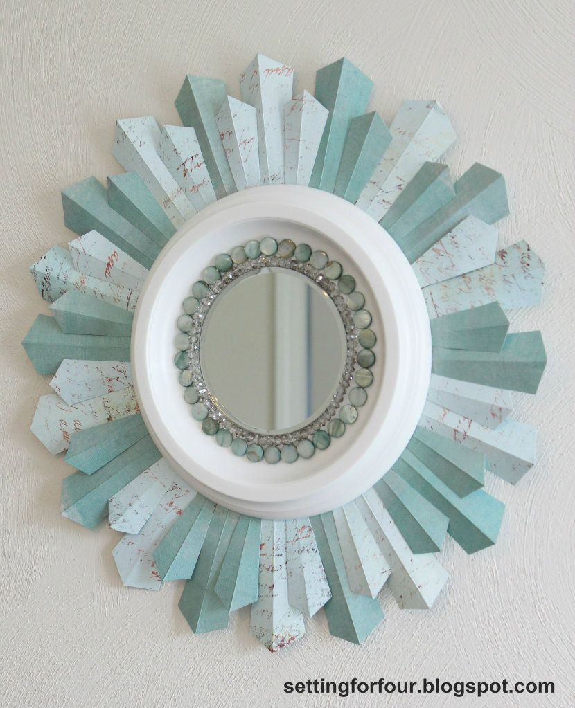 DIY Sunburst Mirror Using Scrapbook Paper DIY