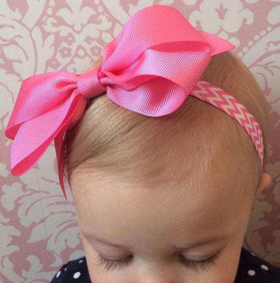 Bubblegum Pink Chevron Bow Headband Infant by MissMadelynsBows