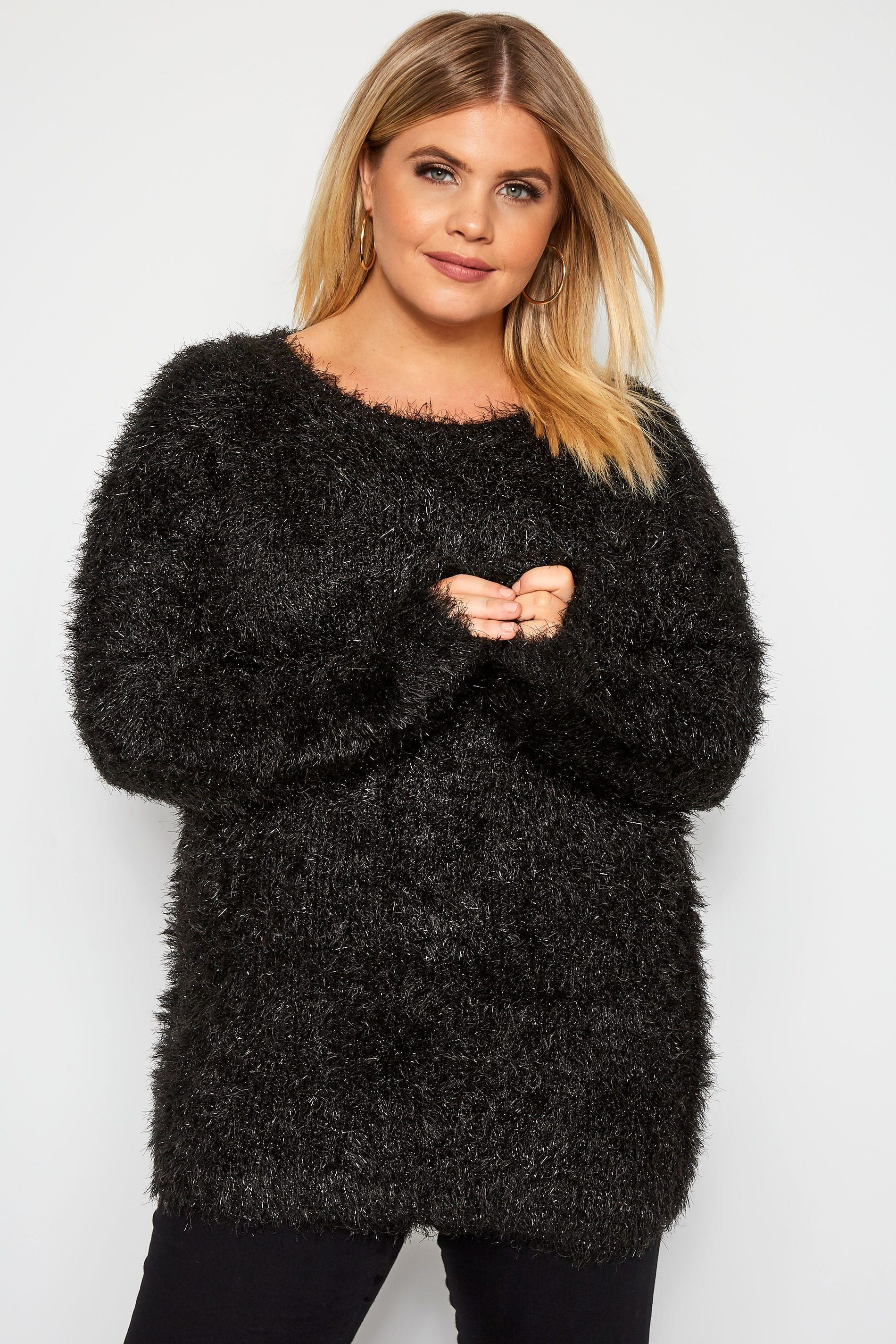 Yours Clothing Women/'s Plus Size Black Metallic Tinsel Knitted Jumper