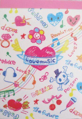 Crux Love Music Mini Memo Pad Kawaii