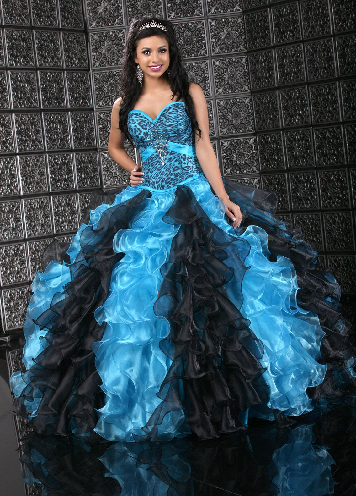 Dresses quinceanera aqua blue and black