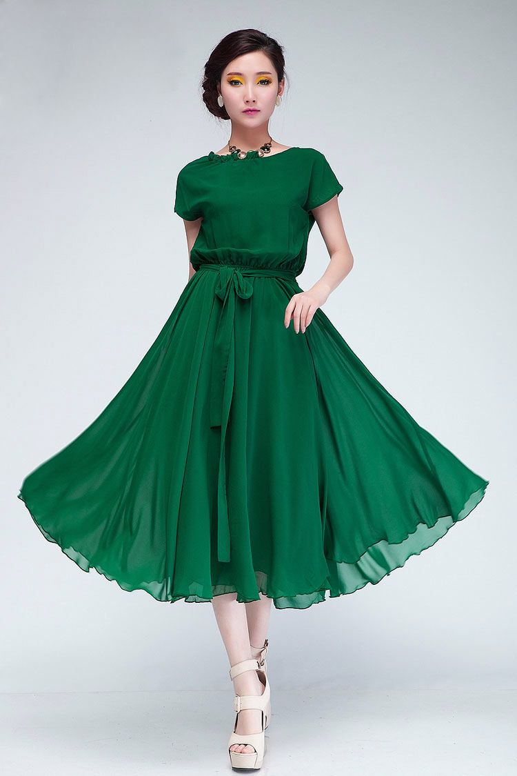 21b20c39af1 Beautiful Short Sleeve Green Chiffon Dress. I love to wear green.