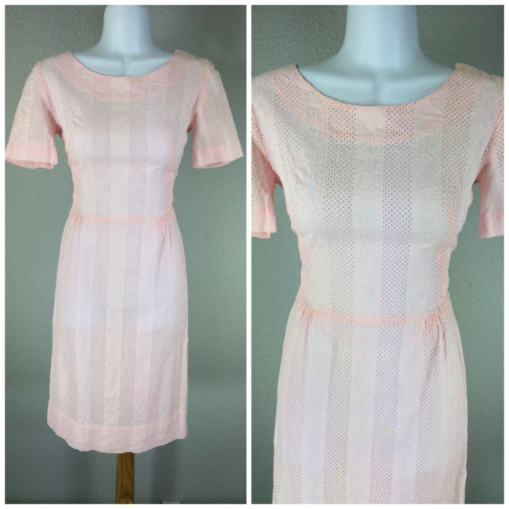Vintage s s cotton candy pink semi sheer cotton day dress xs s