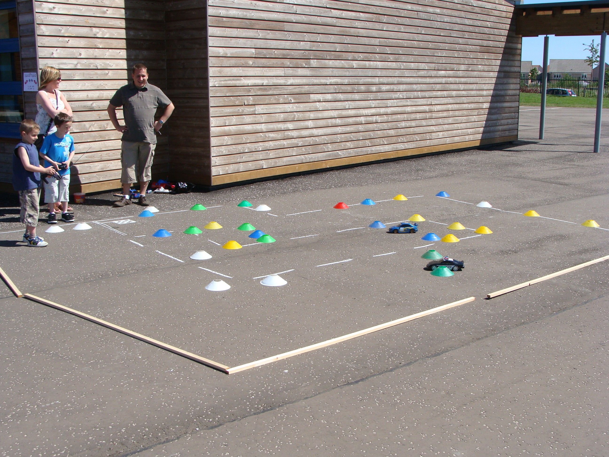 Remote control car obstacle course activity for a school carnival