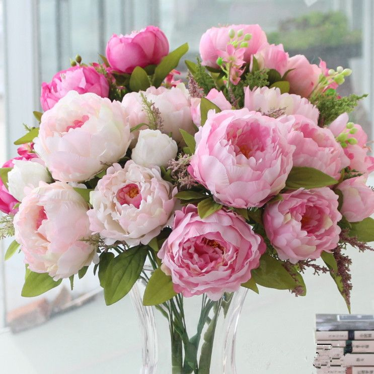 buy the peony flower simulation with artificial silk flower bouquet ...