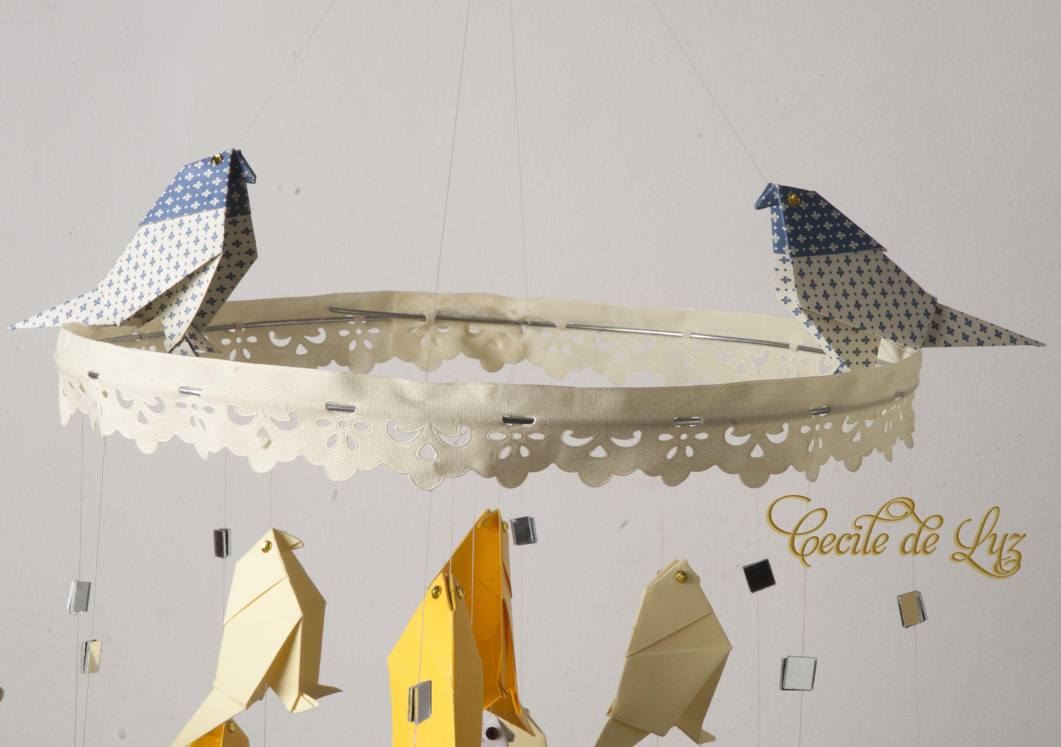 Detalhe do móbile - Pássaros em origami