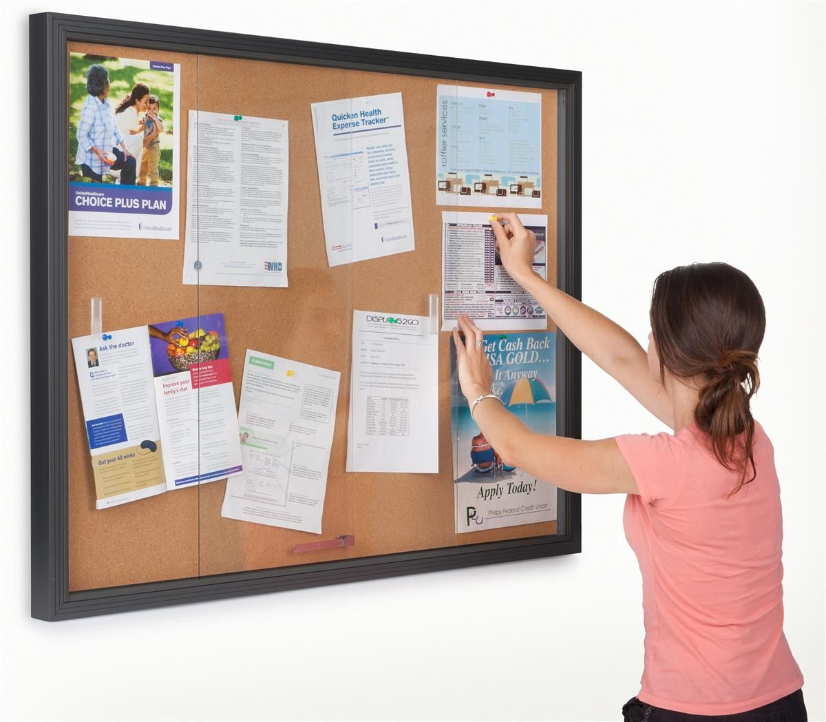 48 X 36 Enclosed Cork Board With Locking Doors Black Missions