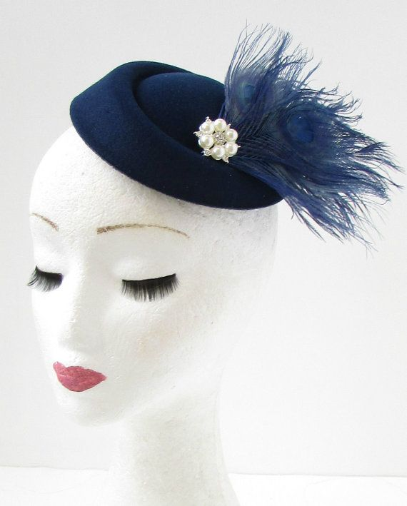 Beautiful vintage style navy blue pillbox fascinator This item is stunning  and perfect for adding vintage style to your hair. Featuring navy  bluefeathers ... 6813e920f14