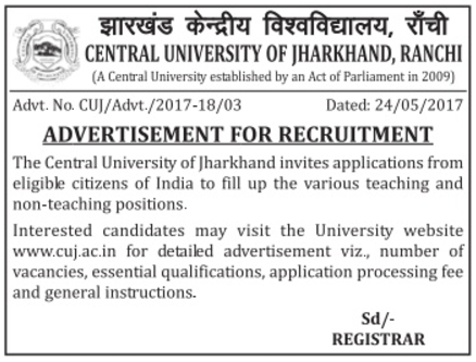 Central University Of Jharkhand Ranchi  Apply For Best Jobs