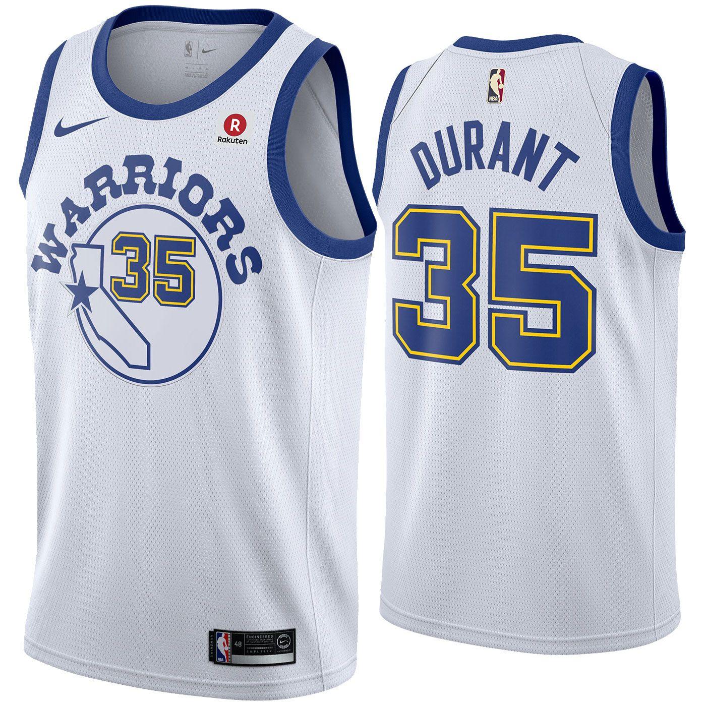 113efc7e811 Golden State Warriors Nike Dri-FIT Men s Kevin Durant  35 Swingman Hardwood  Classic Jersey - White