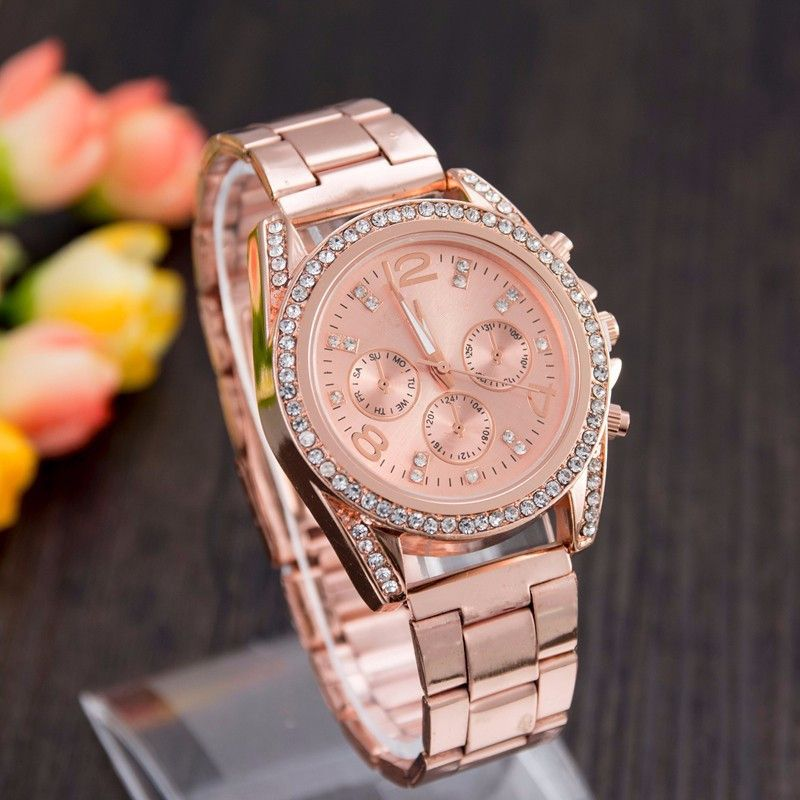 $7.66 (Buy here: http://appdeal.ru/63ka ) 2016 High Quality women watch top brand luxury Quartz Gold Watches Casual Stainless steel Rhinestones watches Analog Wristwatch for just $7.66