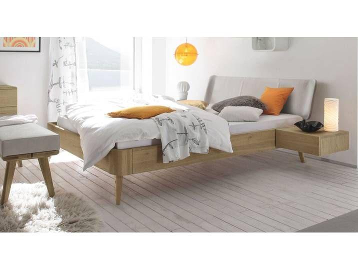 Bett im Mid-Century-Style 160x210 cm in Echtleder & Eiche - Valente -
