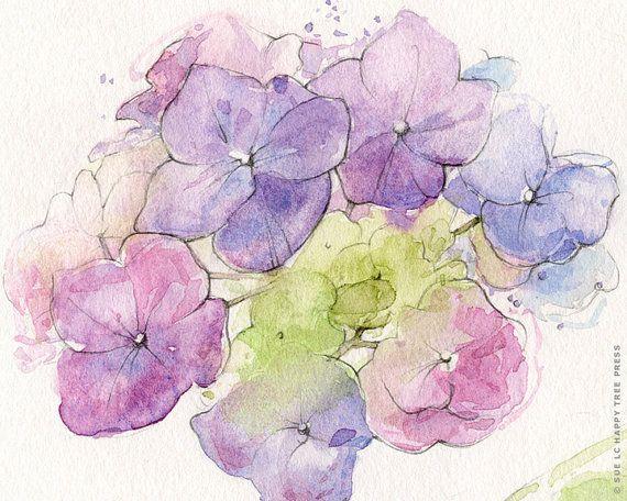 Purple Hydrangea Watercolor Painting Flower Print 8 X10
