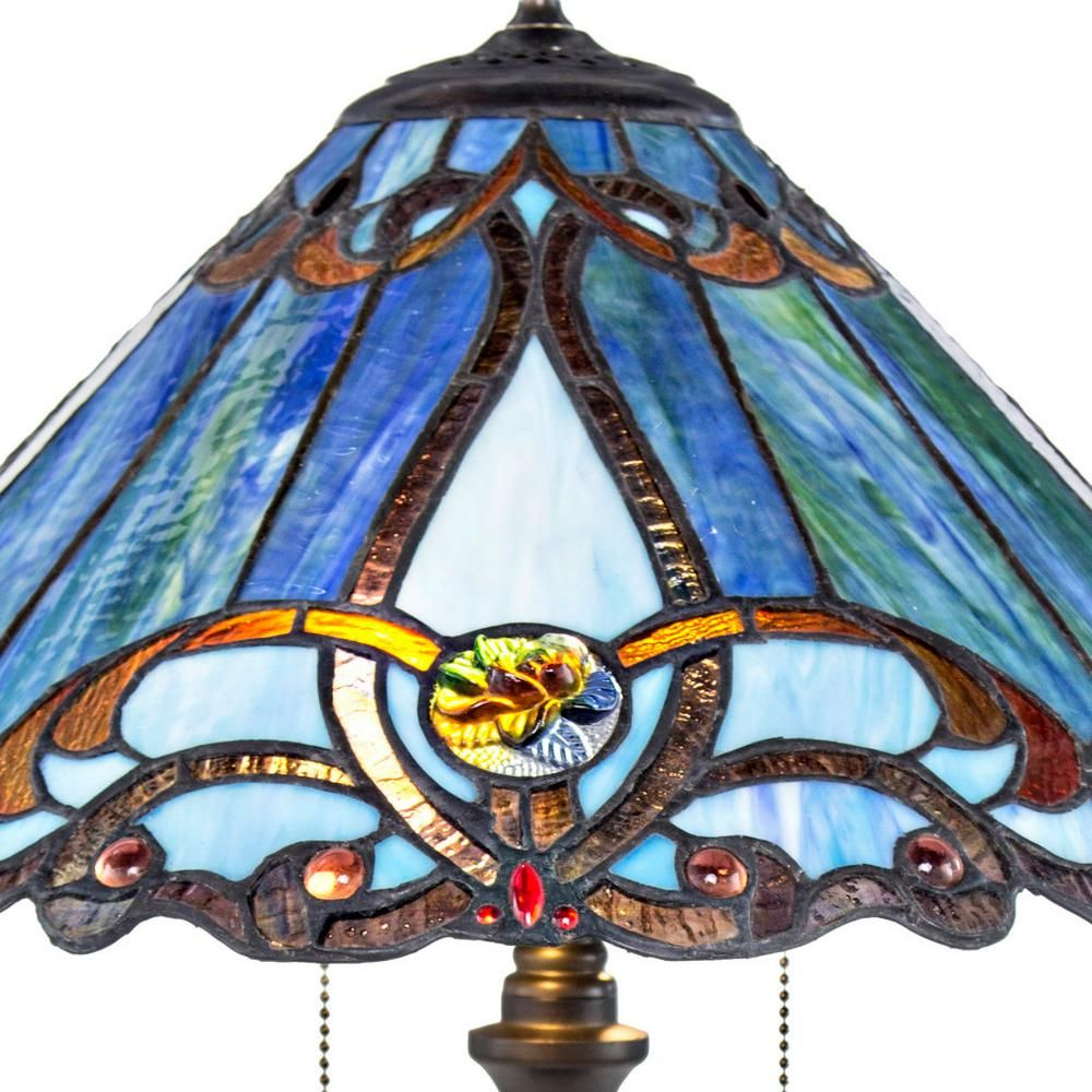 River Of Goods 25 5 In Blue Lamp With Stained Glass Shade 8665 The Home Depot Blue Lamp Lamp Glass Shades