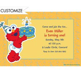 Custom Elmo First Birthday Invitations Party City Aris First