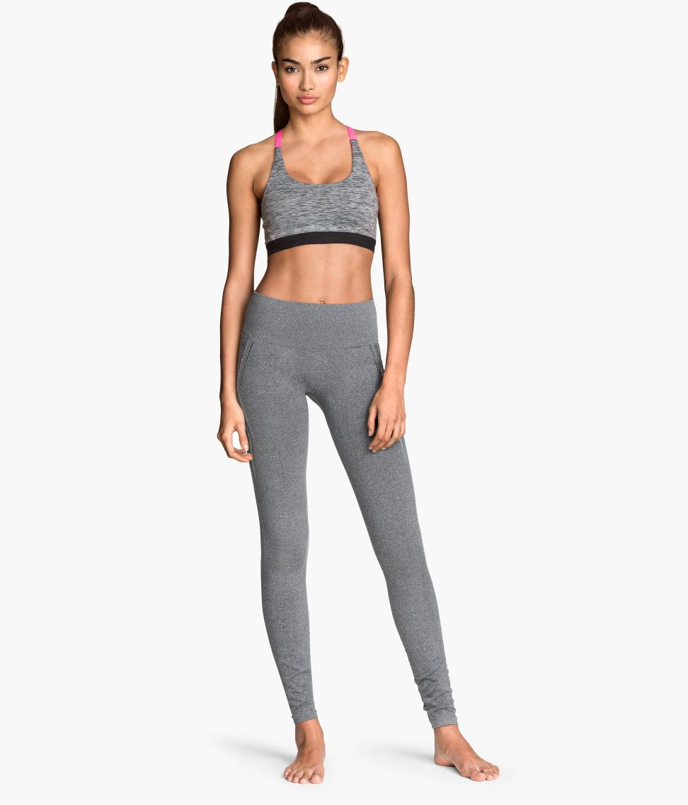 8349f017118026 Gray seamless yoga tights with thick, fast-drying fabric and elastic waist.  | H&M Sport