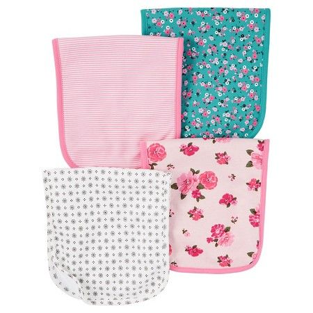 32968d7ae Baby Girls' 4 Pack Pink Floral Burp Cloth Set - Just One You™Made by  Carter's®
