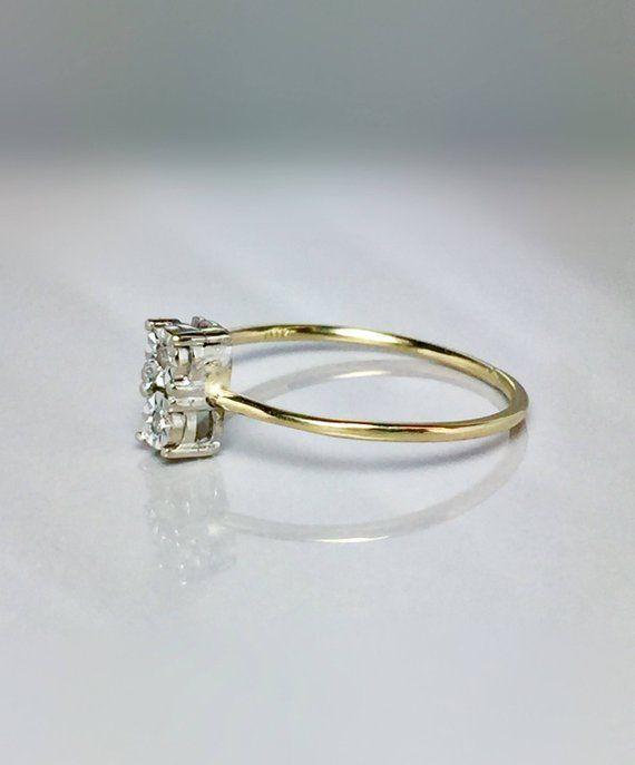 10k Solid Gold Ladies Diamond Ring Girls Gold Ring Midi Ring
