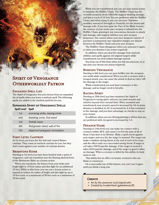 Spirit Of Vengeance Warlock Patron Become The Ghost Rider And Burn Evildoers With The Flames Of Vengeance Unea In 2020 Spirit Of Vengeance Dnd Classes Warlock Dnd Dnd 5e spells › player´s handbook ; spirit of vengeance warlock patron