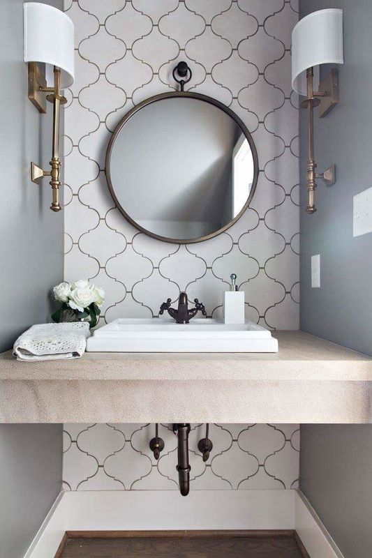 Moroccan Tile Pattern Grey Walls White Sink Black Faucets And Pipes Round Wall Mirror White R