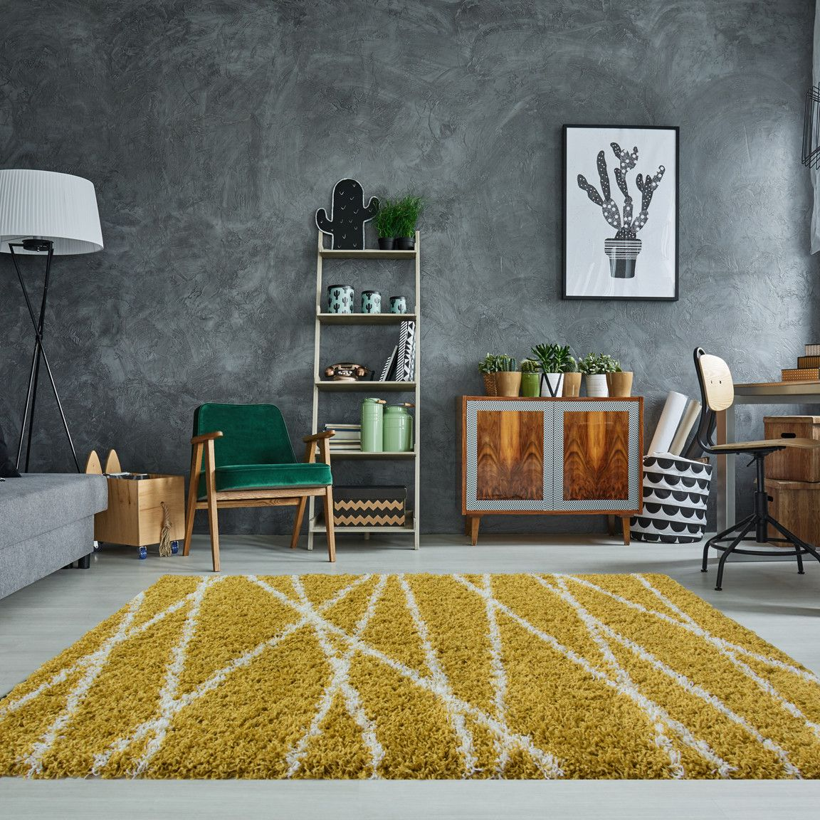 Geometric Ochre Yellow Shaggy Rug