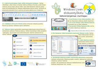 Windows Liven elokuvatyökalu - starttiopas - Tietotaitotalkoiden tuottama Issue julkaisu