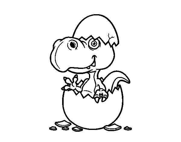 Dibujo de Dino saliendo del huevo para colorear  Dibujos de