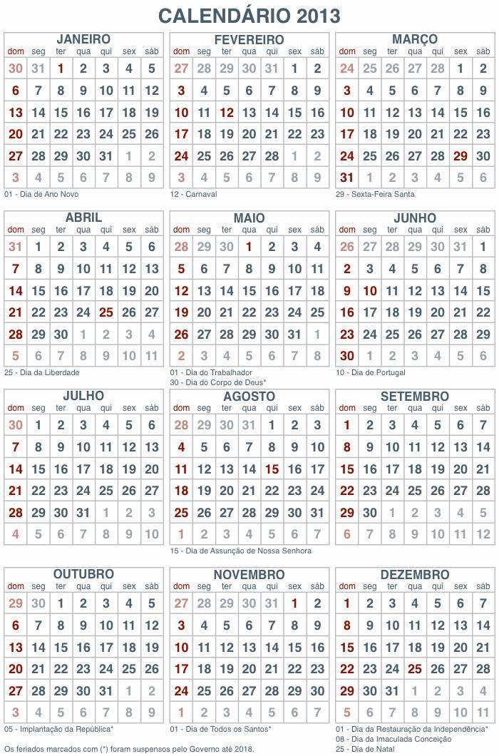 Resultado de imagem para calendário 2018 com feriados nacionais