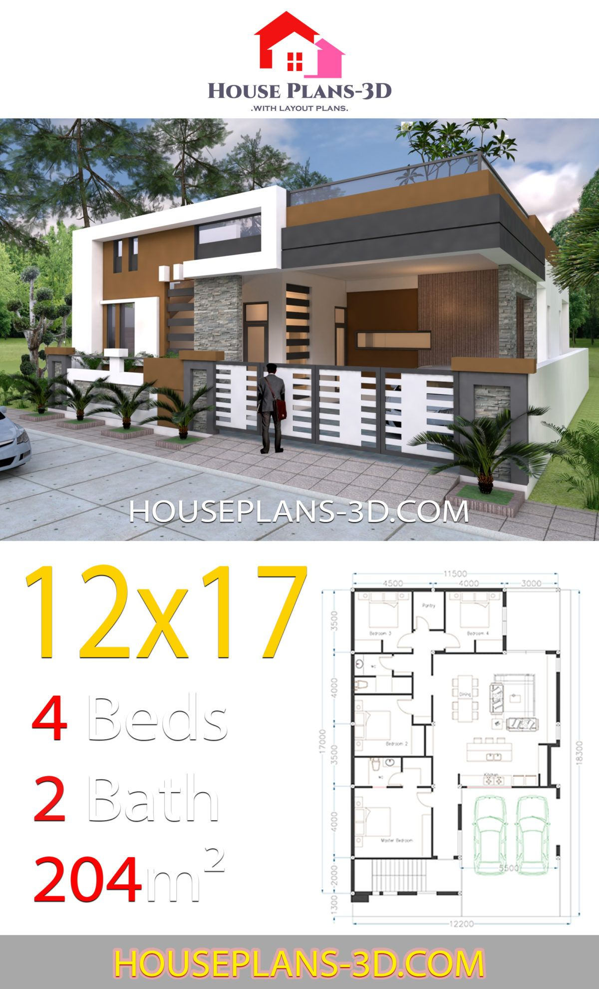 House Design 12x17 With 4 Bedrooms Terrace Roof House Plans 3d Single Floor House Design House Plans Bungalow House Plans