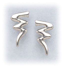 pierced earrings silver posted tiny squiggle