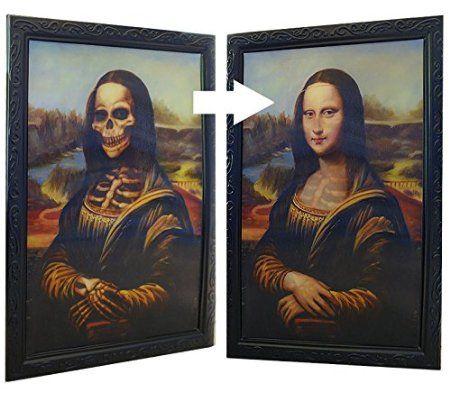 """Halloween Bild Verwandlungsbild Horror Galerie des Grauens 007 """"Das Bildnis der Mona Fiesa"""" XL 48 cm x 36 cm der Blickwinkel verändert das Bild Party Deko: Amazon.de: Spielzeug"""