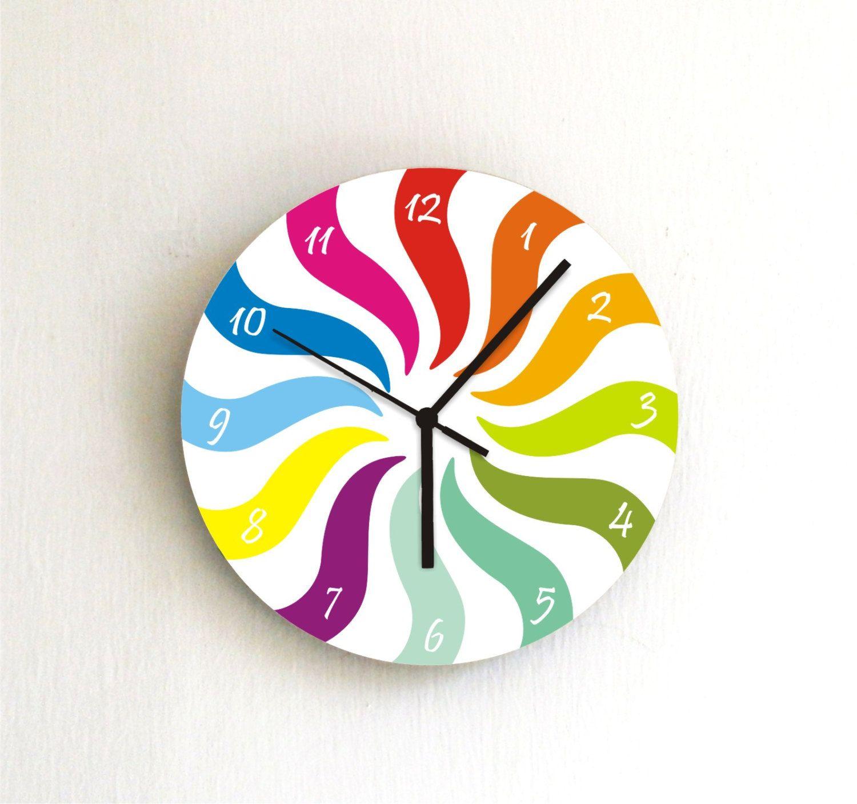 Bright Colorful Clock Kitchen Wall Clocks Kids Wall