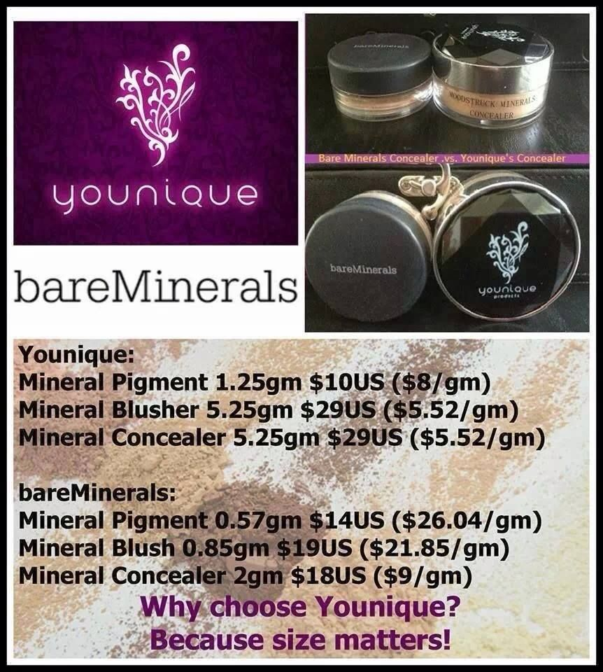Younique compared to Bare Minerals www.youniqueproducts.com/SabrinaDrew