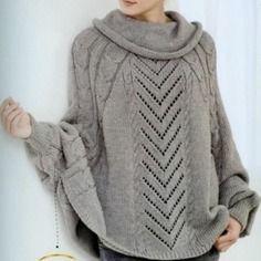modele poncho adulte a tricoter
