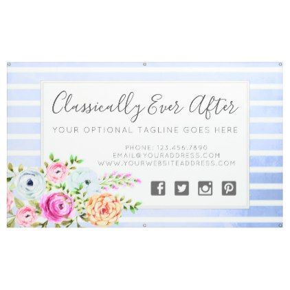 Rustic Floral Watercolor Modern Stripe Shabby Chic Banner