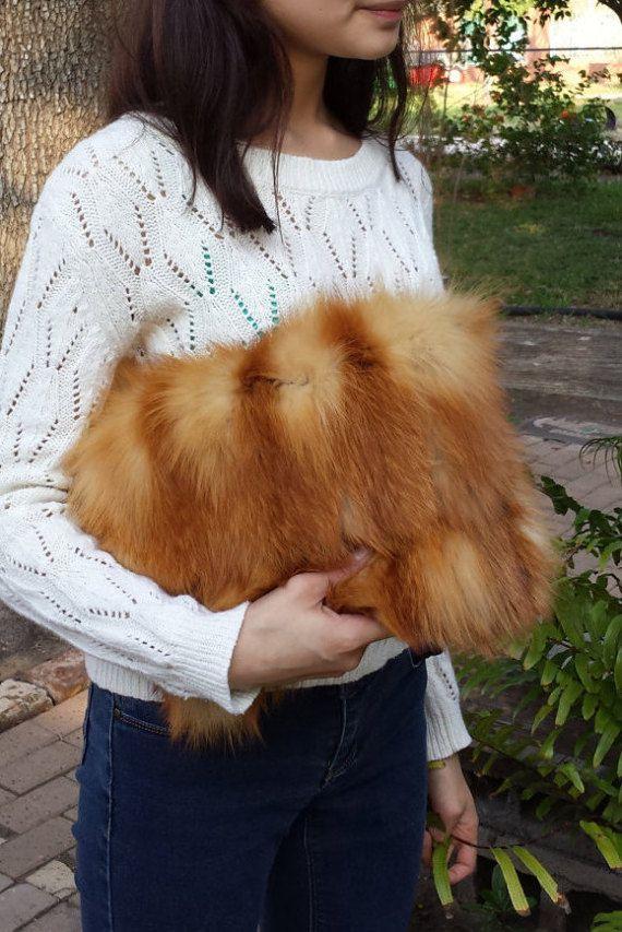 a78a1baf0025 New handmade red fox fur clutch bag real fur recycled