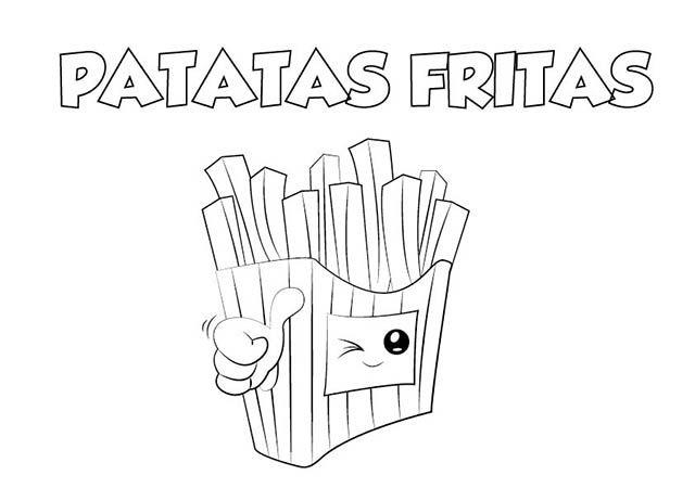 dibujo colorear patatas fritas | Dibujos de alimentos para colorear ...
