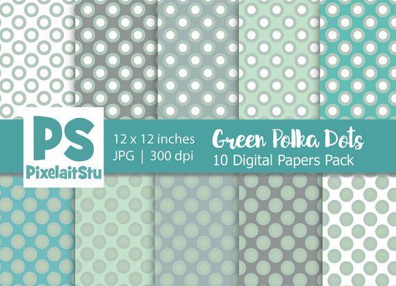 Green White Polka Dots Pattern digital paper by PixelaitStu