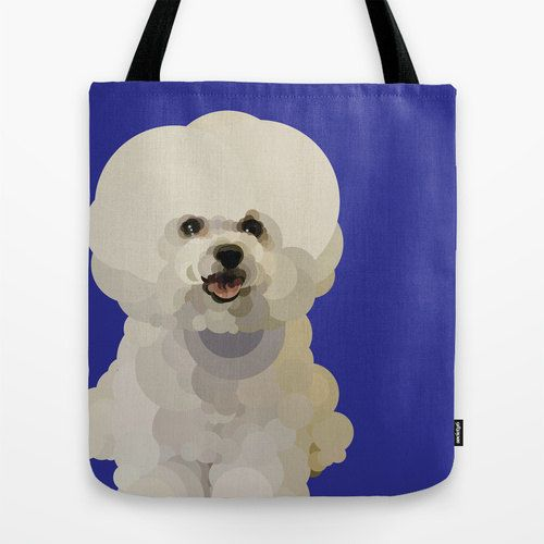 Natural and Black Large bags available Bichon Frise Printed Bags 3 sizes