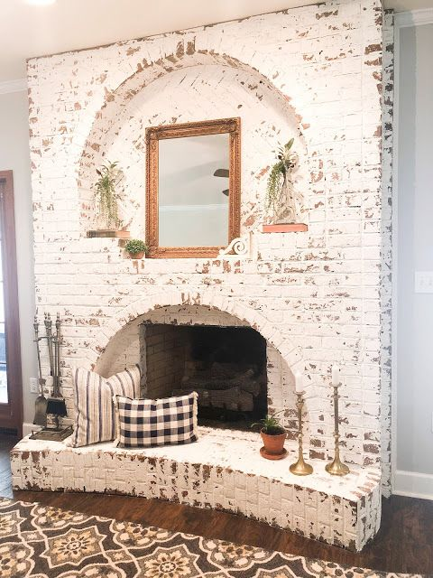 How To German Schmear Brick Fireplace Living Room With Fireplace Home Decor Fireplace Makeover