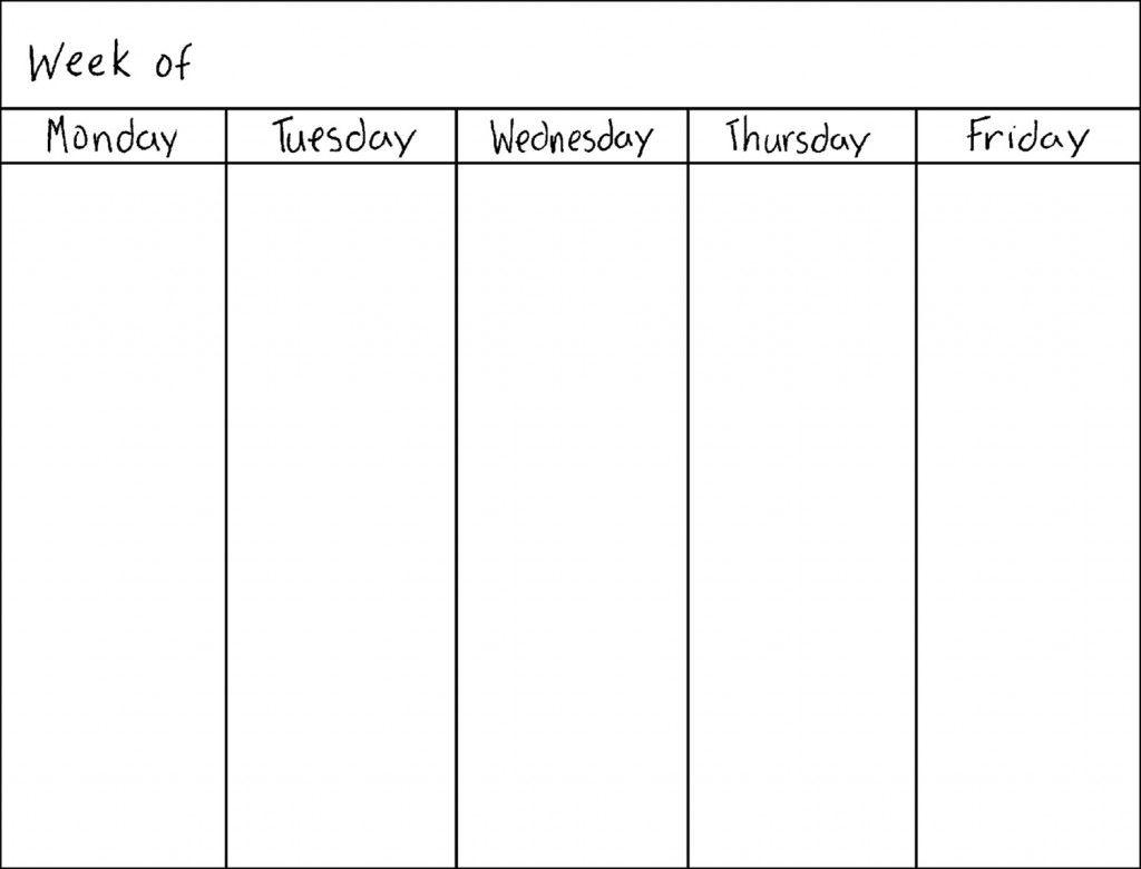 Get 5 Day Week Blank Calendar Printable Weekly Calendar Template