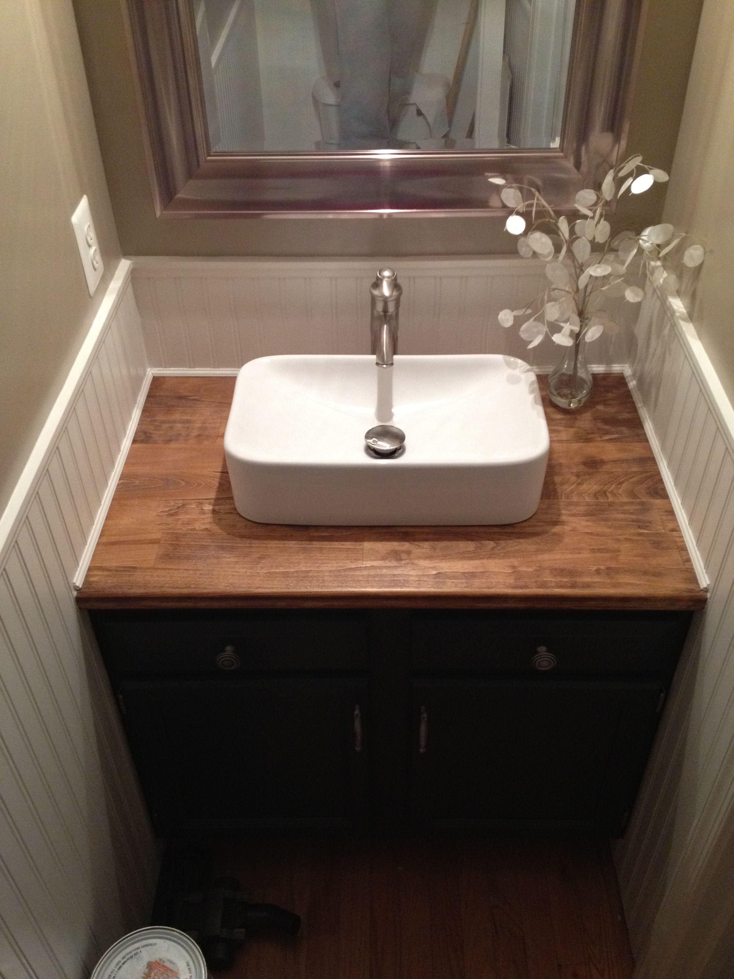 Butcher Block Vanity Top With White Vessel Sink Bathroom Sink