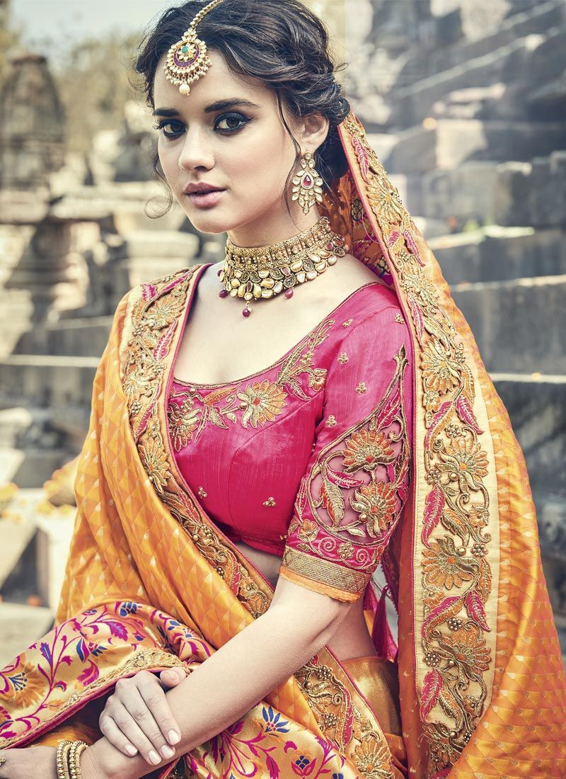 Buy Orange and pink silk wedding wear saree in UK, USA and Canada ...